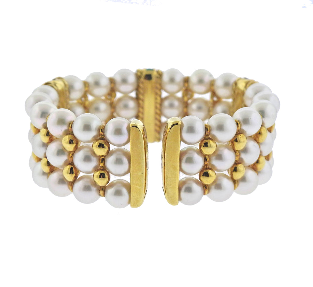 thumbnail image of Sapphire Ruby Emerald Diamond Pearl Gold Bracelet