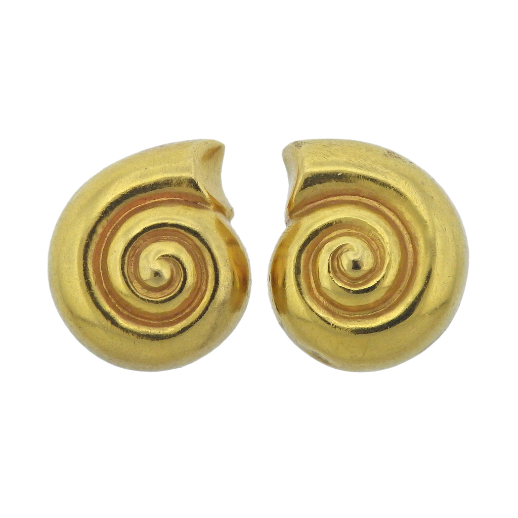 thumbnail image of Lalaounis Greece Shell Motif Gold Earrings