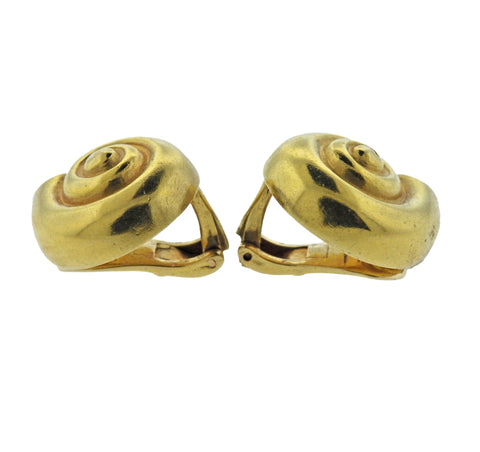 image of Lalaounis Greece Shell Motif Gold Earrings