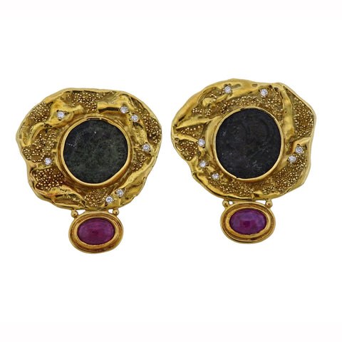 image of Elizabeth Gage Coin Ruby Diamond Gold Earrings