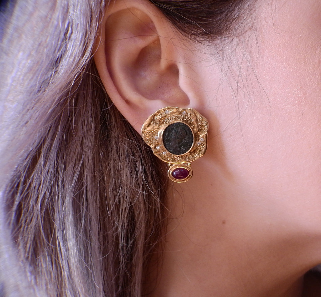 thumbnail image of Elizabeth Gage Coin Ruby Diamond Gold Earrings