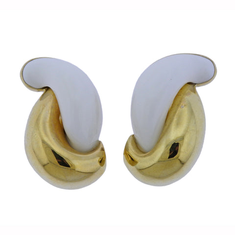 image of Seaman Schepps Half Link Mammoth Tusk Gold Earrings