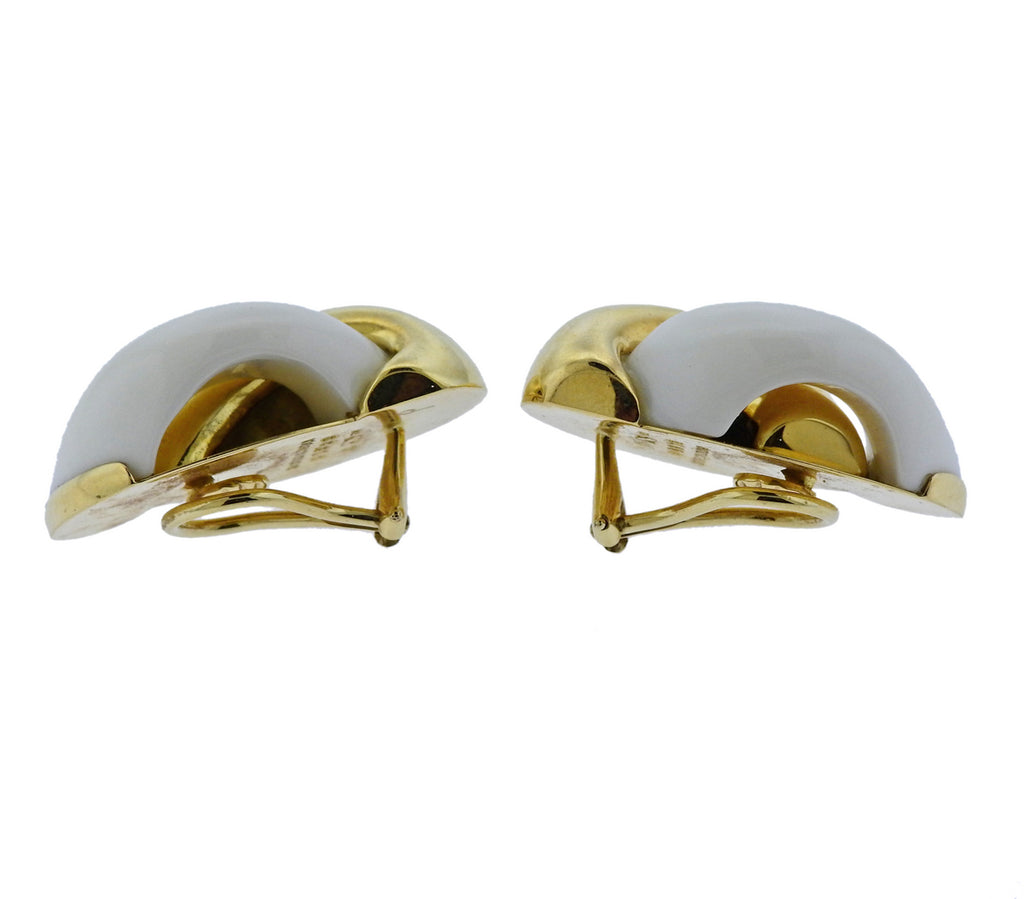 thumbnail image of Seaman Schepps Half Link Mammoth Tusk Gold Earrings