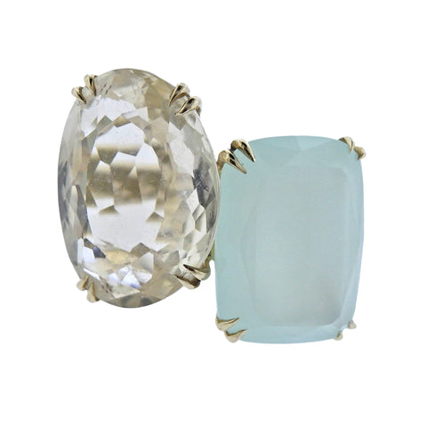 image of H. Stern Cobblestone Diamond Quartz Chalcedony 18k Gold Ring