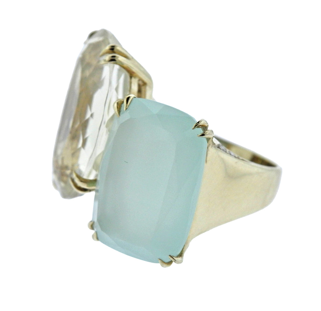 thumbnail image of H. Stern Cobblestone Diamond Quartz Chalcedony 18k Gold Ring