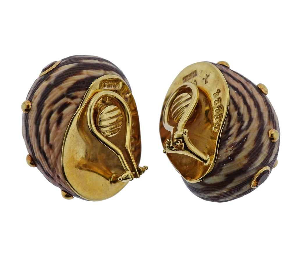 thumbnail image of Trianon Shell Citrine Gold Earrings