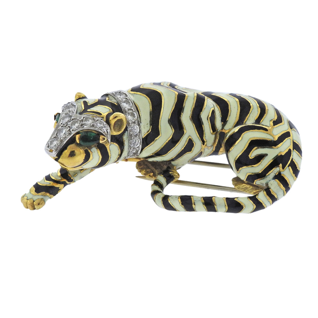 thumbnail image of Rare David Webb Diamond Emerald Platinum Gold Tiger Brooch