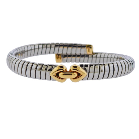 image of Bulgari Gold Steel Doppio Bracelet