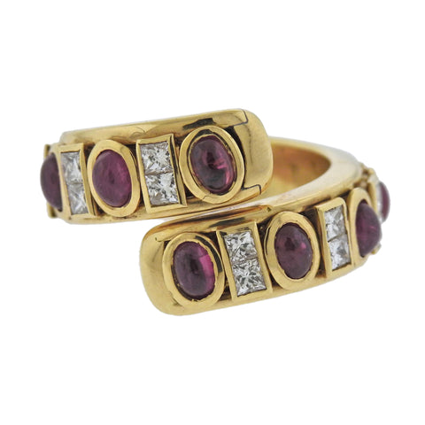 image of Verney Paris Ruby Diamond 18k Gold Bypass Ring