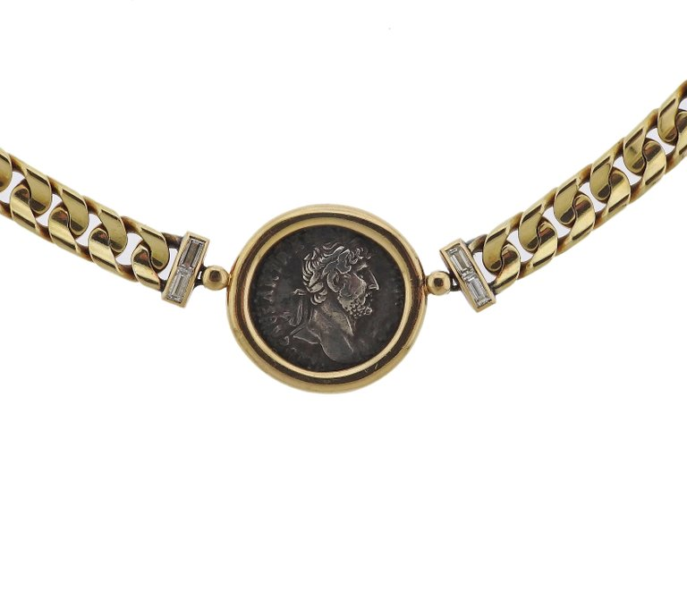 thumbnail image of Bulgari Ancient Coin Hadrianus Caesar Denarius Gold Diamond Necklace