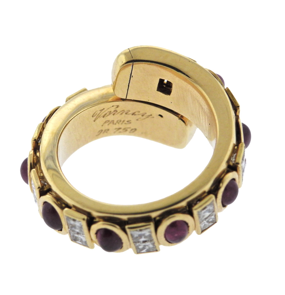 thumbnail image of Verney Paris Ruby Diamond 18k Gold Bypass Ring