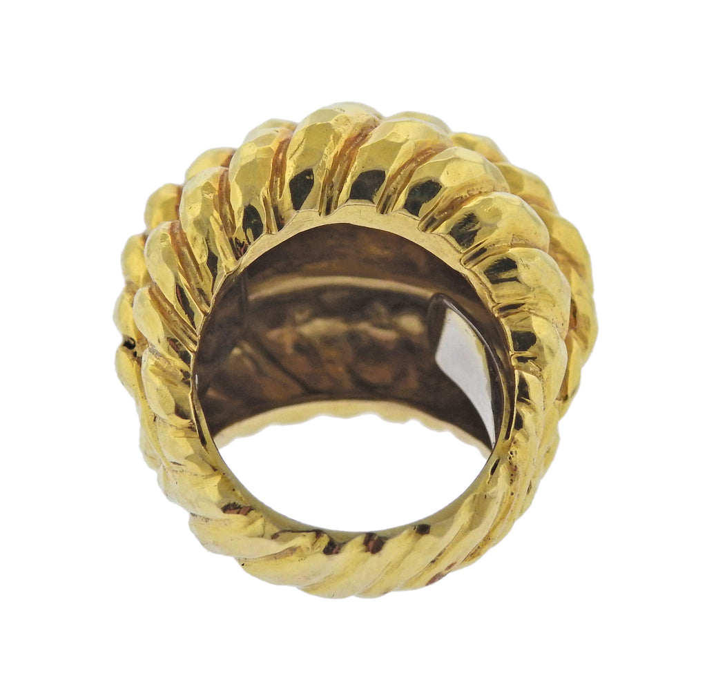thumbnail image of David Webb Hammered Gold Dome Ring