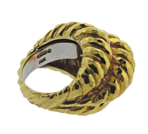 image of David Webb Hammered Gold Dome Ring