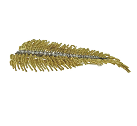 image of Diamond Gold Feather Brooch Pin