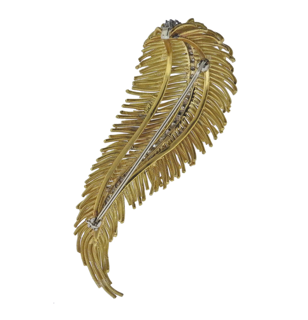 thumbnail image of Diamond Gold Feather Brooch Pin