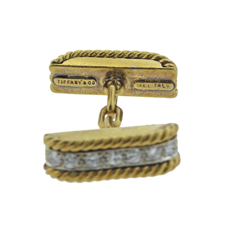 image of Mid Century Tiffany & Co Diamond Gold Cufflinks