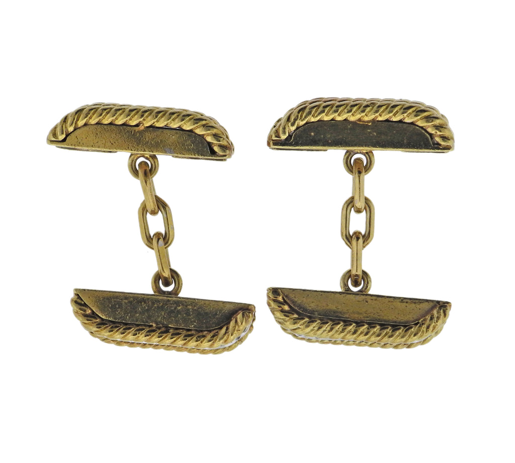 thumbnail image of Mid Century Tiffany & Co Diamond Gold Cufflinks