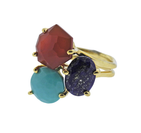 image of Ippolita Rock Candy Riviera Turquoise Lapis Carnelian 18k Gold Ring