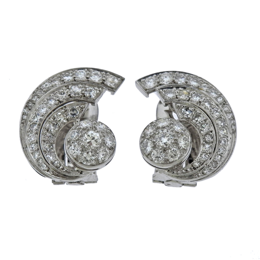 thumbnail image of Mid Century Diamond Platinum Cocktail Earrings