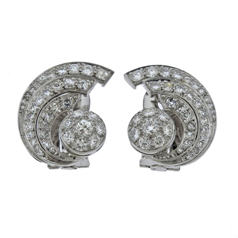 image of Mid Century Diamond Platinum Cocktail Earrings