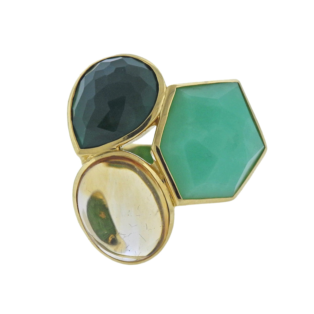 thumbnail image of Ippolita Rock Candy Riviera Sky Green Gemstone Citrine 18k Gold Ring