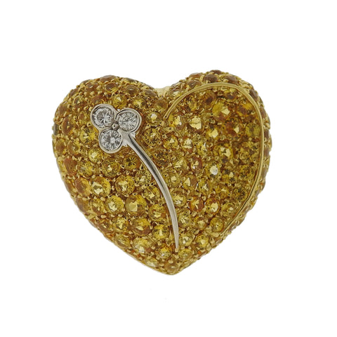 Modern Yellow Sapphire Diamond Heart 18k Gold Ring