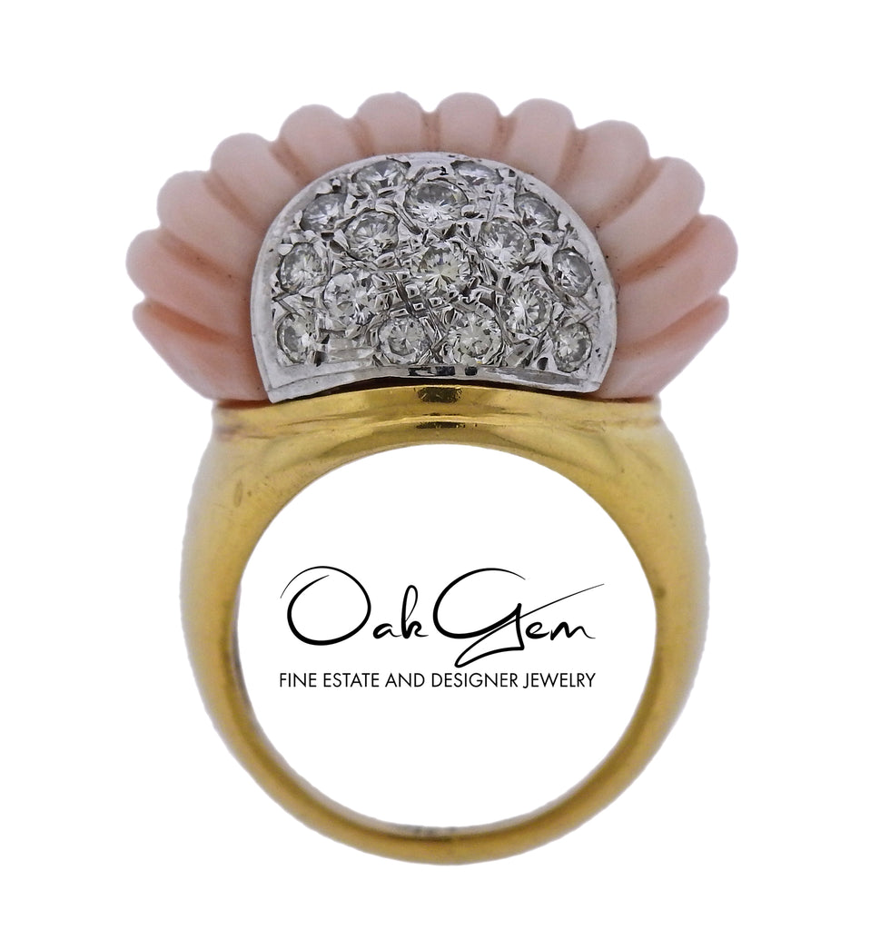 thumbnail image of Carved Coral Diamond Gold Cocktail Ring