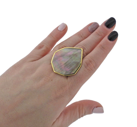 image of Ippolita Portofino Brown Shell 18k Gold Large Ring