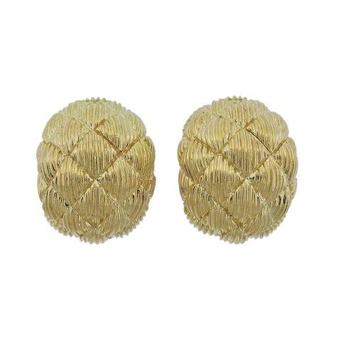 image of David Webb Woven Gold Half Hoop Earrings
