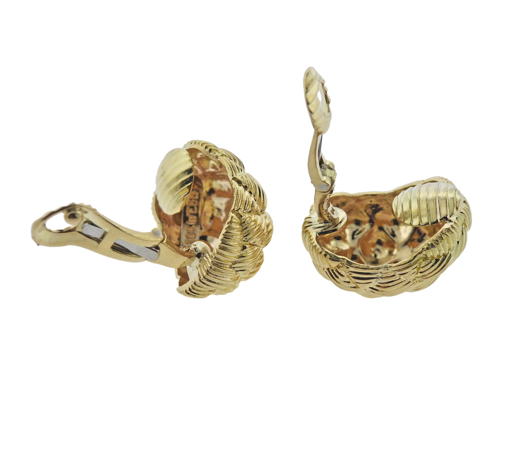 thumbnail image of David Webb Woven Gold Half Hoop Earrings