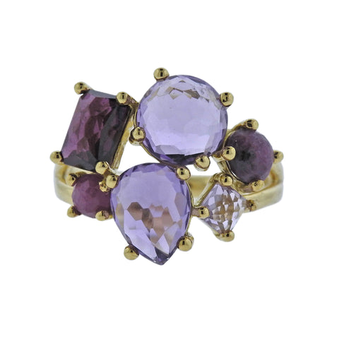 image of Ippolita Rock Candy Majesty Amethyst Ruby Cluster 18k Gold Ring