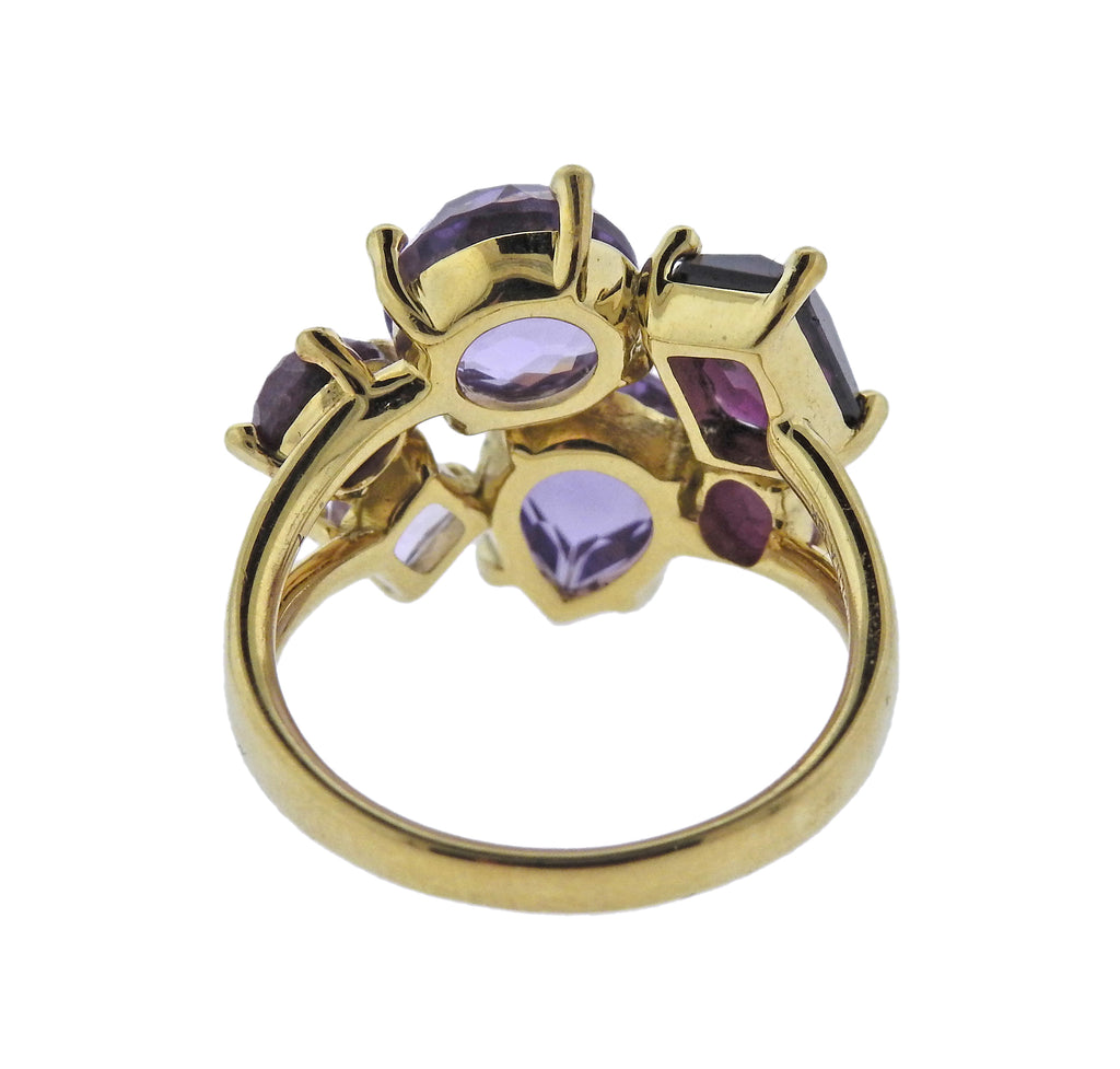 thumbnail image of Ippolita Rock Candy Majesty Amethyst Ruby Cluster 18k Gold Ring