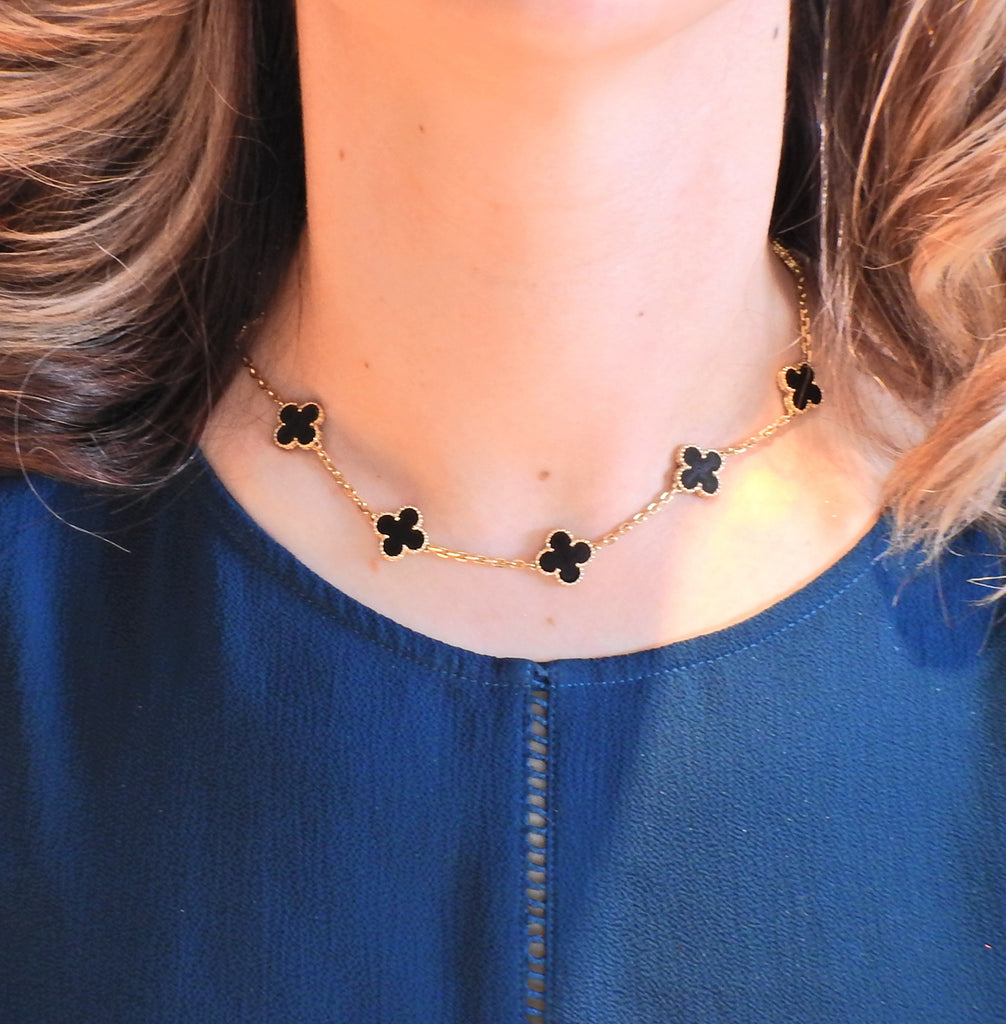 thumbnail image of Van Cleef & Arpels Vintage Alhambra Onyx Gold Ten Motif Necklace