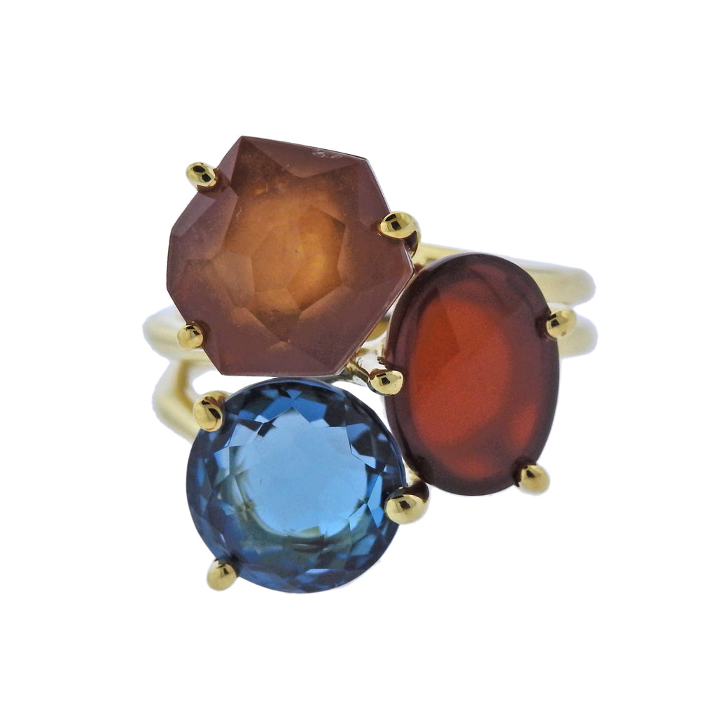 thumbnail image of Ippolita Rock Candy Boucle Carnelian Blue Topaz 18k Gold Ring