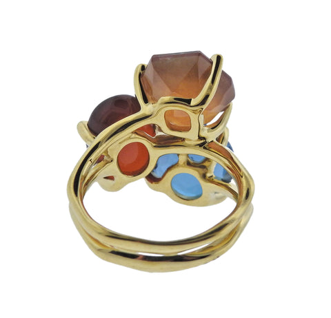 image of Ippolita Rock Candy Boucle Carnelian Blue Topaz 18k Gold Ring