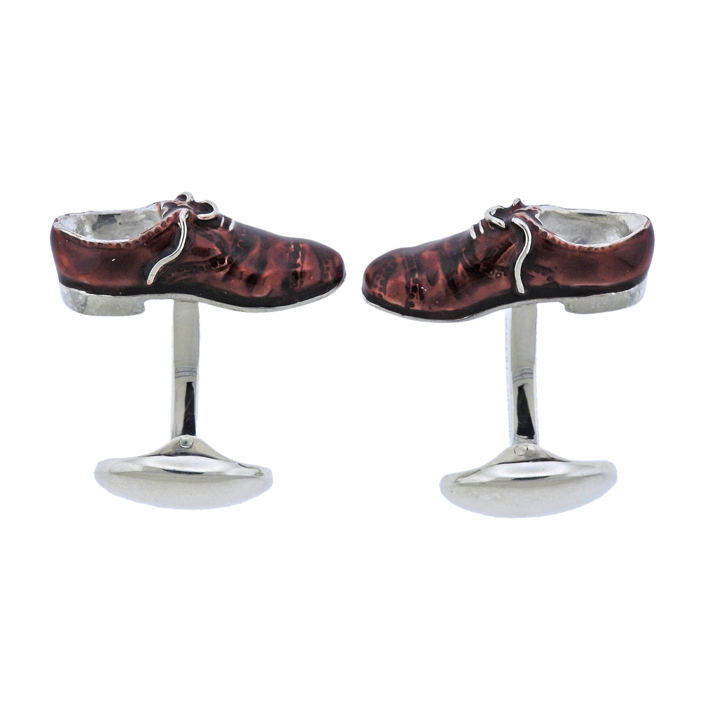 thumbnail image of Deakin & Francis Silver Enamel Brogue Shoes Cufflinks