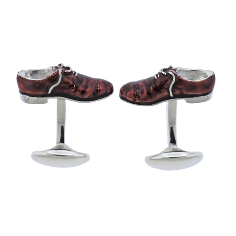 image of Deakin & Francis Silver Enamel Brogue Shoes Cufflinks
