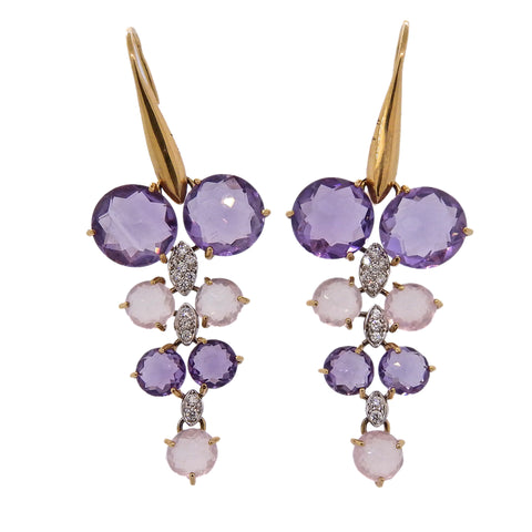 image of Maryline 18k Gold Amethyst Quartz Diamond Cocktail Earrings
