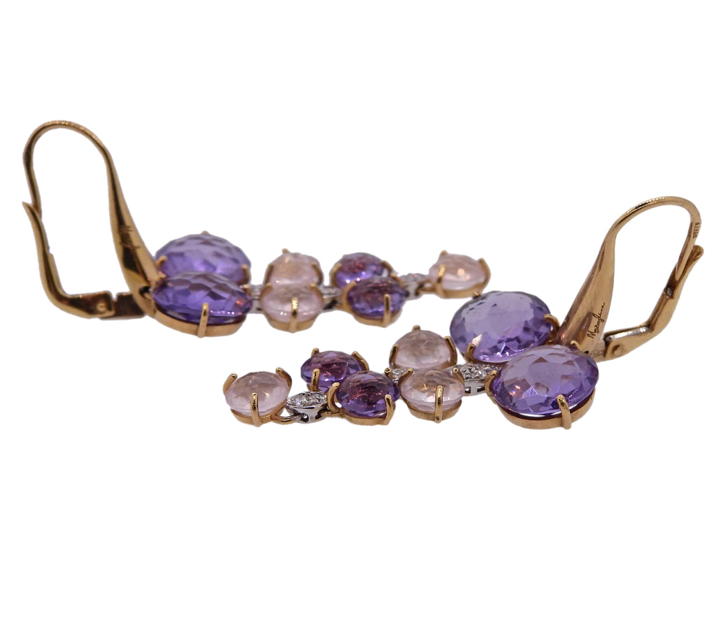 thumbnail image of Maryline 18k Gold Amethyst Quartz Diamond Cocktail Earrings