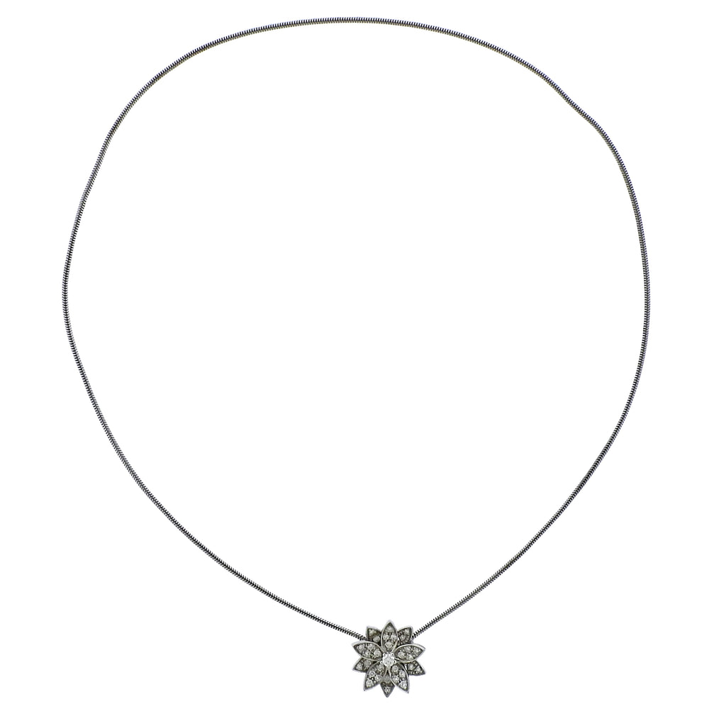 thumbnail image of Van Cleef & Arpels Diamond 18k Gold Lotus Pendant Necklace