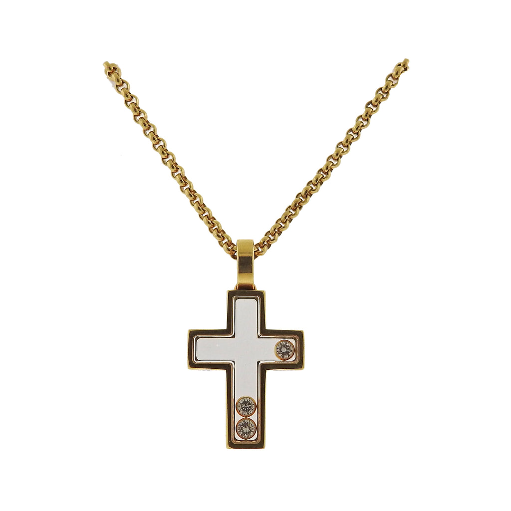 thumbnail image of Chopard Happy Diamonds 18k Gold Cross Pendant Necklace