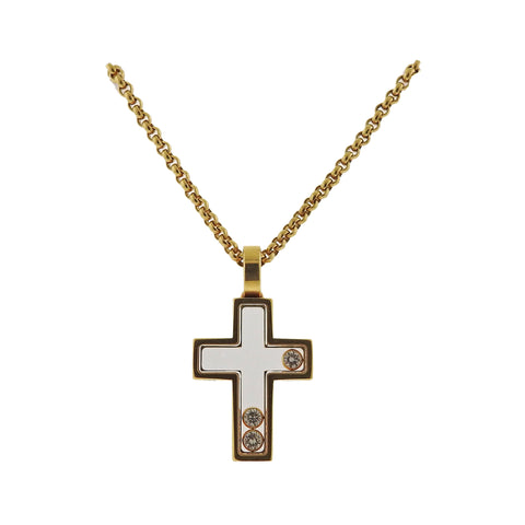 image of Chopard Happy Diamonds 18k Gold Cross Pendant Necklace