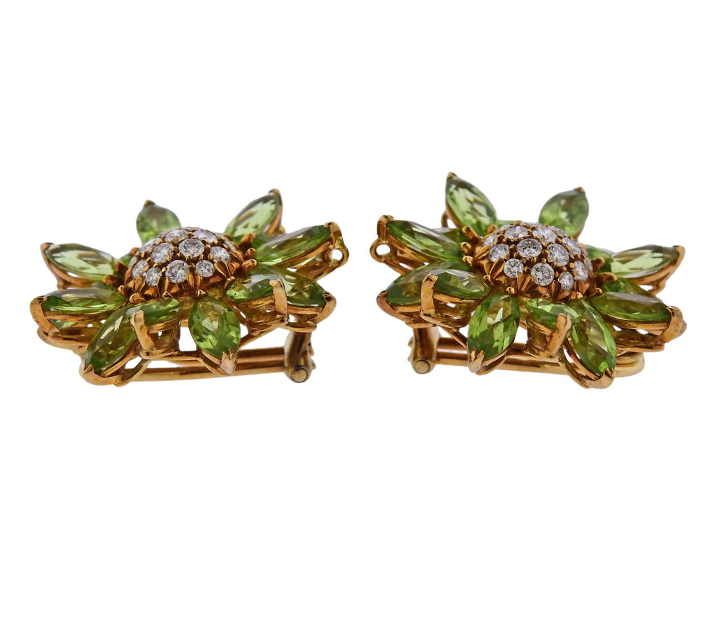 thumbnail image of Asprey Heritage Daisy Peridot Diamond Gold Earrings