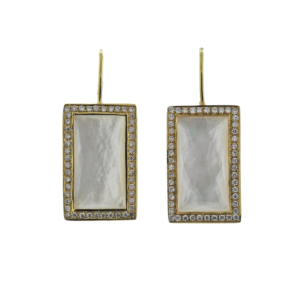 thumbnail image of Ippolita Rock Candy Baguette Mother of Pearl Diamond 18k Gold Earrings