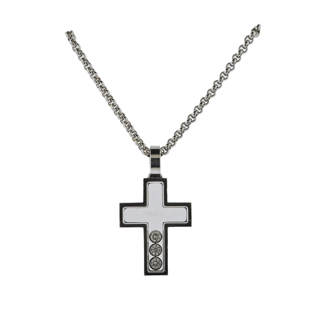 thumbnail image of Chopard Happy Diamonds Gold Diamond Cross Pendant Necklace 79/4009