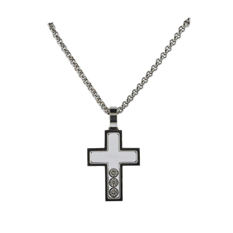 image of Chopard Happy Diamonds Gold Diamond Cross Pendant Necklace 79/4009