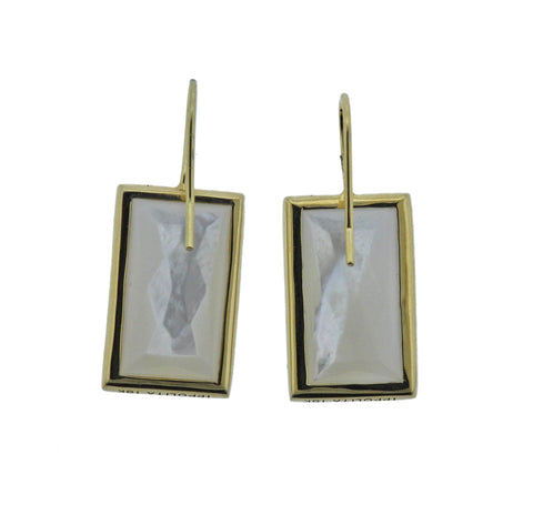 image of Ippolita Rock Candy Baguette Mother of Pearl Diamond 18k Gold Earrings