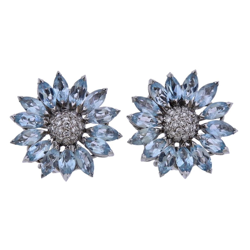 thumbnail image of Asprey Heritage Daisy Aquamarine Diamond Gold Earrings