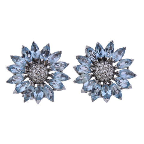 image of Asprey Heritage Daisy Aquamarine Diamond Gold Earrings