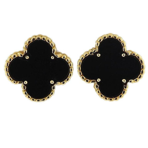 Van Cleef & Arpels Vintage Alhambra Gold Onyx Earrings